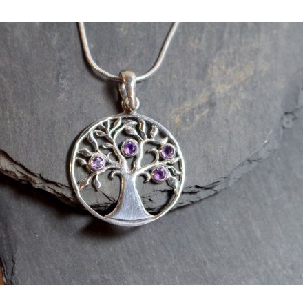 Silverhalsband Tree of Life Ametist